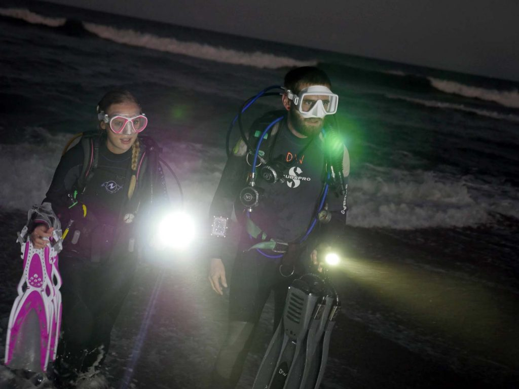 Scuba Divers Coming Out of Water at Night