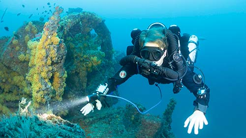 Scuba Diver with Rebreather