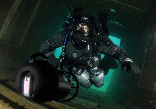 Mark Scuba Diving Inside Plane