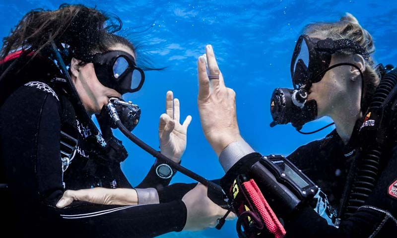 Scuba Divers Hand OK Signals